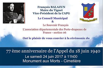 Commémoration du 77ème anniversaire de l'Appel du 18 juin 1940 – samedi 24 juin 2017 – 11h00 – Monument aux Morts